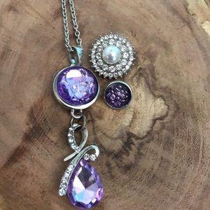 Interchangeable pendant three looks purple bow
